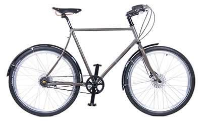 Stylish men's urban bicycle Traffic with Carbon Drive transmission.